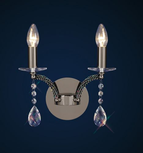 Diyas IL30362 Fiore Crystal Double Wall Lamp Black Chrome Frame
