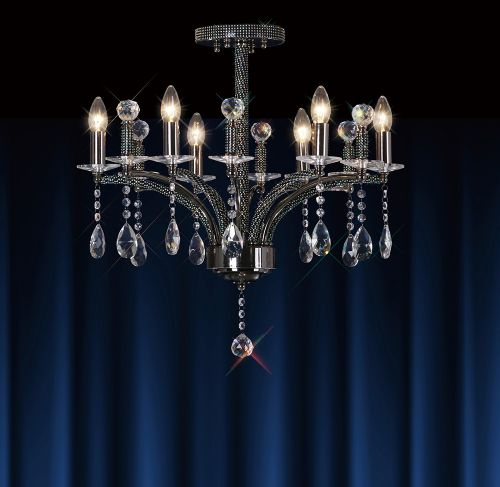 Diyas IL30366 Fiore Crystal 6 Light Semi Flush Ceiling Fitting Black Chrome Frame