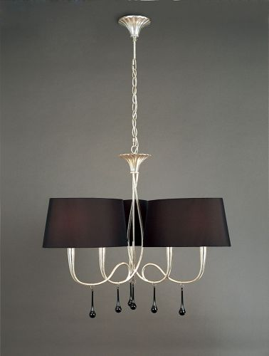 Mantra M0530 Paola Pendant 3 Arm 6 Light E14 Silver Painted Black Shades Black Glass Droplets