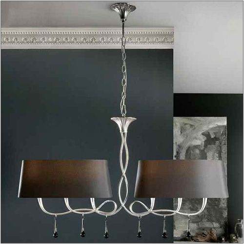 Mantra M0531 Paola Pendant 2 Arm 6 Light E14 Silver Painted Black Shades Black Glass Droplets