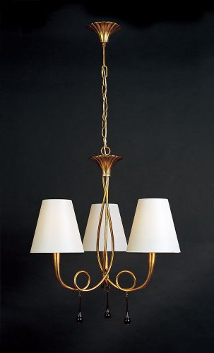 Mantra M0542 Paola Pendant 3 Light E14 Gold Painted Cream Shades Amber Glass Droplets