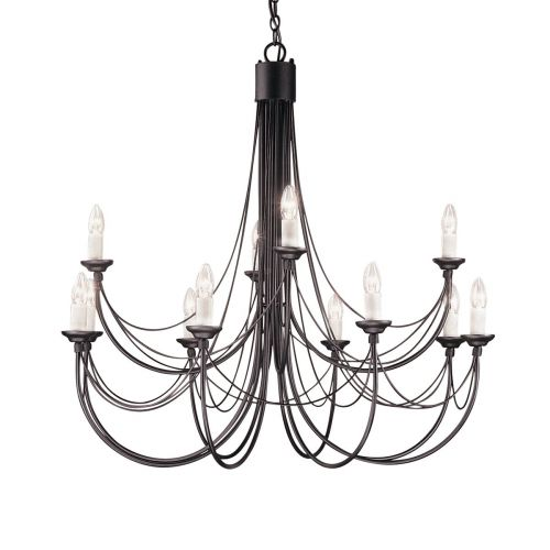 Elstead Carisbrooke Black 12 Light Chandelier ELS/CB12