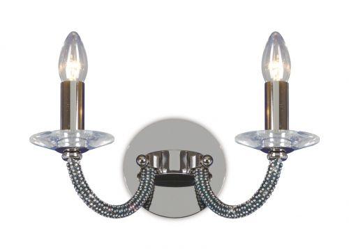 Diyas IL30472 Elena Crystal Double Wall Lamp Black Chrome Frame