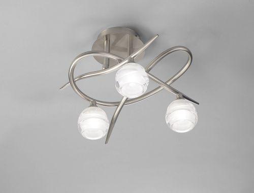 Mantra Loop Satin Nickel 3 Light Semi Flush Fitting M1814