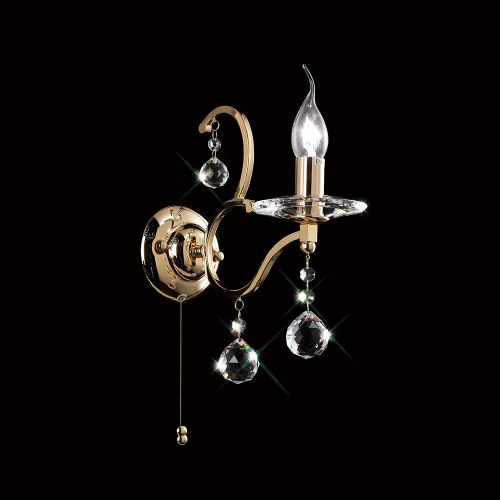 Diyas IL30221 Zinta Wall Lamp Switched 1 Light French Gold Crystal