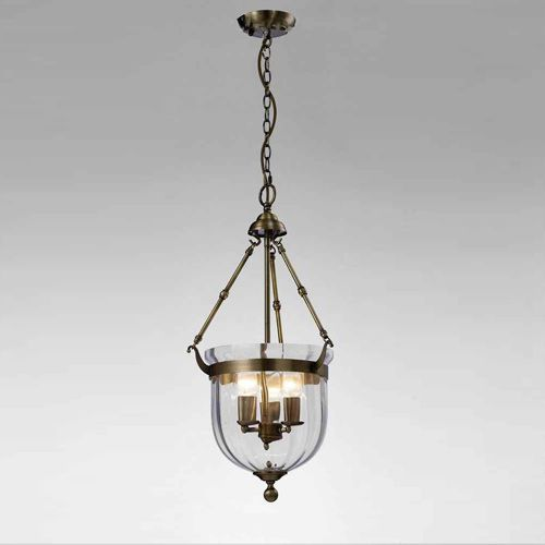 Diyas IL31076 Aubrey Pendant 3 Light Antique Brass Glass
