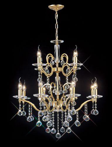 Diyas IL30228+4 Zinta Pendant 2 Tier 12 Light French Gold Crystal