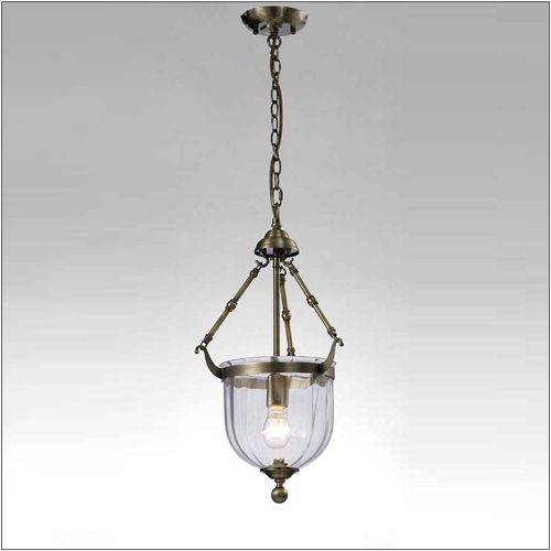 Diyas IL31075 Aubrey Pendant 1 Light Antique Brass Glass