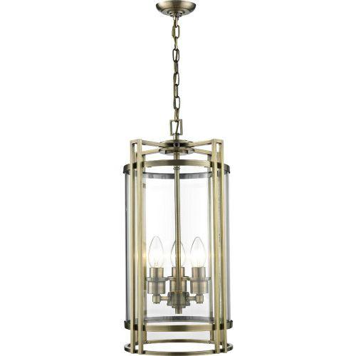 Diyas IL31092 Eaton Pendant 3 Light Ceiling Lantern Antique Brass Frame