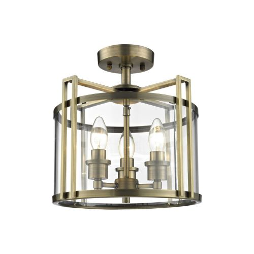 Diyas IL31090 Eaton Semi Flush 3 Light Ceiling Lantern Antique Brass Frame