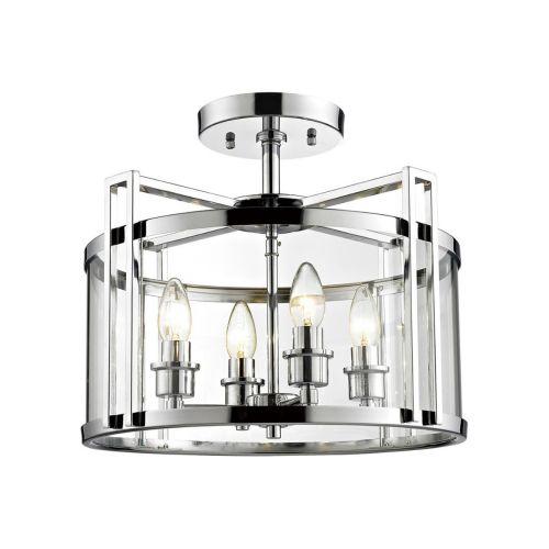 Diyas IL31081 Eaton Semi Flush 4 Light Ceiling Lantern Polished Chrome Frame