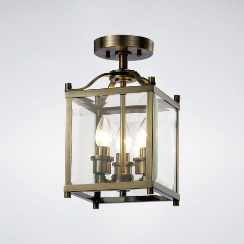 Diyas Aston  3 Light Semi Ceiling Antique Brass/Glass IL31110