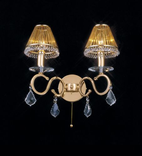 Diyas IL30322 Torino Wall Lamp Switched 2 Light French Gold Crystal