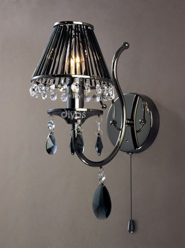 Diyas IL30901 Luna Wall Lamp 1 Light Black Chrome Crystal