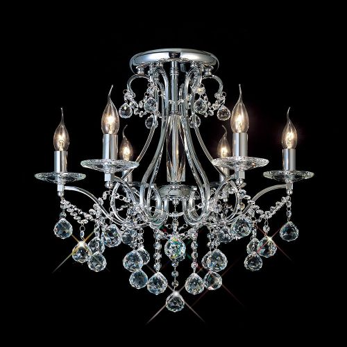 Diyas IL30116 Bianco Ceiling 6 Light Polished Chrome Crystal Chandelier