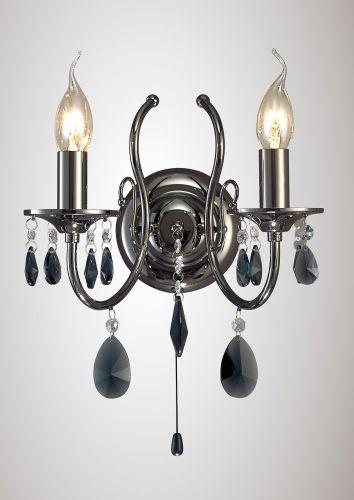 Diyas IL30902 Luna Wall Lamp 2 Light Black Chrome Crystal