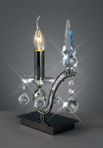 Diyas IL30030 Tara Table Lamp 1 Light Black Chrome Crystal