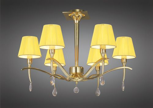 Mantra Siena 6 light Polished Brass Ceiling Light M0344PB