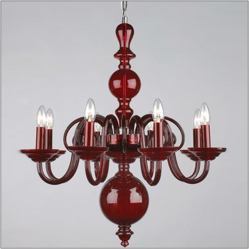 Impex CB05519/08/CAR Preciosa 8 Light Red Glass Chandelier