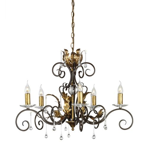Elstead Amarilli 5 Light Chandelier AML5 Bronze Gold Glass Droplets