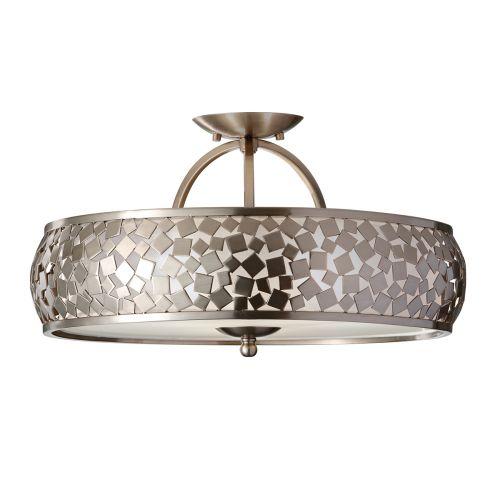 Feiss FE/ZARA/SF Zara 3Lt Brushed Steel Ceiling Semi-Flush