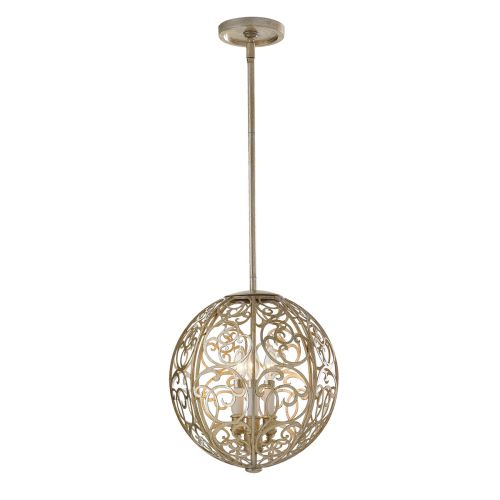 Feiss Arabesque Mini-Pendant With Silver Leaf Patina FE/ARABESQUE3