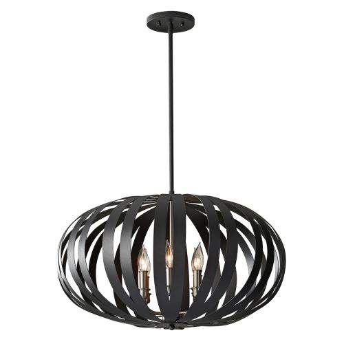 Feiss Woodstock Textured Black Oval Cage Pendant Fitting FE/WOODSTOCK/P/L