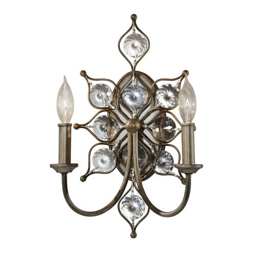 Feiss Leila Burnished Silver Wall Light Sunflower Crystal FE/LEILA2