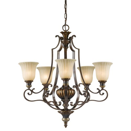 Feiss FE/KELHALL5 UPLT Kelham Hall 5Lt Gold and Bronze Ceiling Pendant