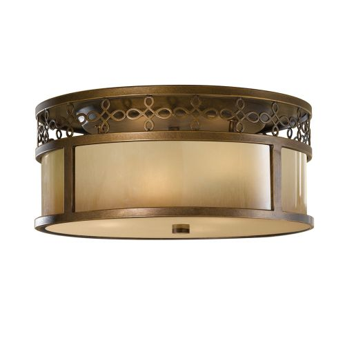 Feiss Justine Astral Bronze Flush Fitting Aged Oak Glass FE/Justine/F