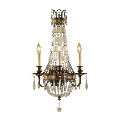 Feiss Bellini Bronze Wall Light FE/BELLINI/W3 Antique Quartz Crystal