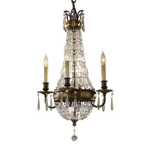 Feiss Bellini Bronze Chandelier FE/BELLINI/4 Antique Quartz Crystal