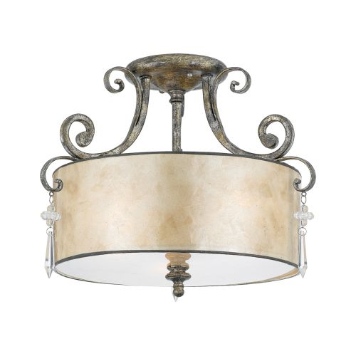 Quoizel Mottled Silver Leaf Semi-Flush With Mica Shade QZ/KENDRA/SF