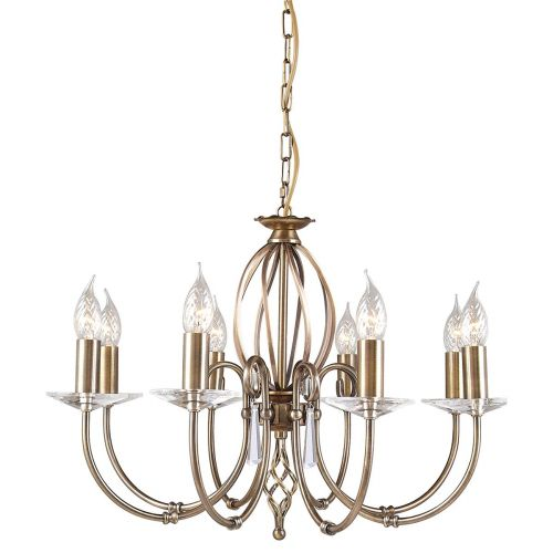 Elstead Aegean AG8 Aged Brass 8 Arm Chandelier Glass Droplet Sconces