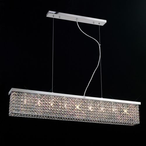 Diyas IL30434 Piazza Crystal 9 Light Rectangular Ceiling Pendant Polished Chrome Frame