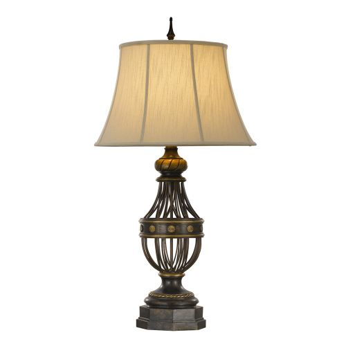 Feiss Antique Brown Table Lamp With Cream Shade FE/AUGUSTINE TL