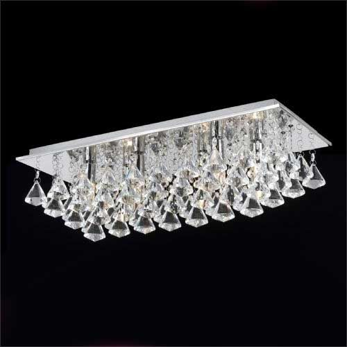 Impex Parma CFH201114/06/PL/CH 6 Light Oblong Flush Chrome Ceiling Fitting