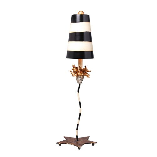 Flambeau La Fleur Black And Taupe Striped Table Lamp FB/La Fleur TL