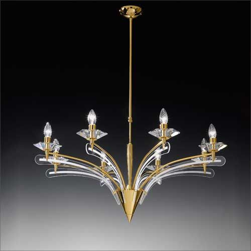 Metal Lux Icaro 8 Arm Light Gold and Glass Ceiling Chandelier 198.188