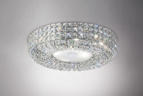 Diyas IL31201 Enya Crystal 6 Light Flush Ceiling Fitting Polished Chrome Frame
