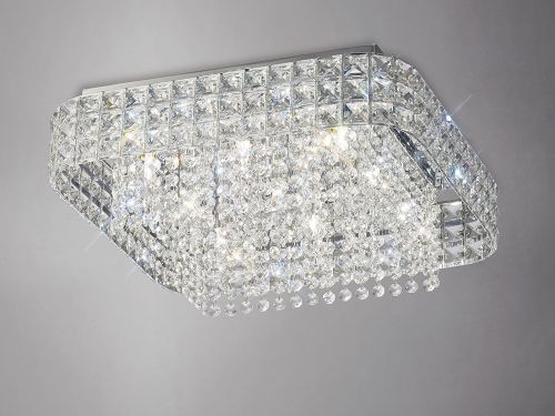 Diyas IL31153 Edison Flush Ceiling Fitting Square 9 Light Polished Chrome Crystal