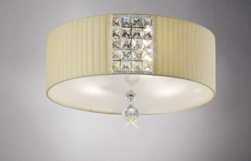 Diyas Evelyn 3 Light Cream Flush Fitting With Crystal IL31172/CR