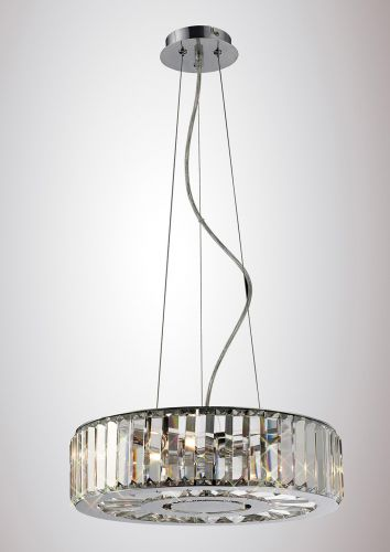 Diyas IL30072 Torre Crystal 5 Light Pendant Polished Chrome Frame