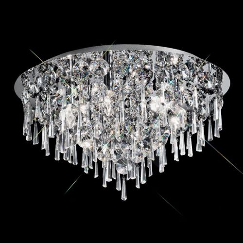 Bathroom Circular Flush Ceiling Fitting With Crystal Glass Drops LEK60052
