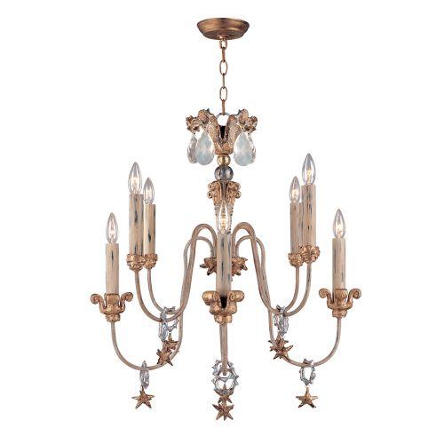 Flambeau Mignon 8 Light Antique Gold Chandelier FB/MIGNON8
