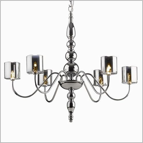 Ideal Lux 004556 Duca 6 Arm Modern Ceiling Light Chrome Glass Shades