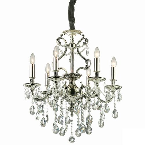 Ideal Lux 044927 Gioconda Traditional 6Lt Antique Silver Frame Chandelier Crystal