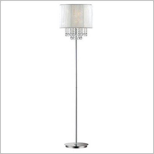 Ideal Lux 068275 Opera Crystal Single Light Floor Lamp Polished Chrome Frame