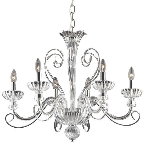 Ideal Lux 090252 Alexander 6 Arm Lt Hand Blown Glass Chrome Chandelier