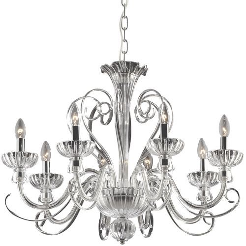 Ideal Lux 90269 Alexander 8 Arm Hand Blown Glass Chrome Chandelier